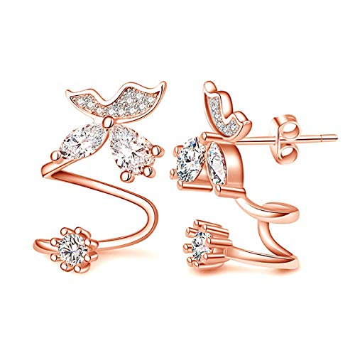 CZ Crystal Butterfly Climber Earrings Sweep Up Wrap Pins Ear Crawlers Cuffs Studs Hypoallergenic Earrings for Women (rose ()