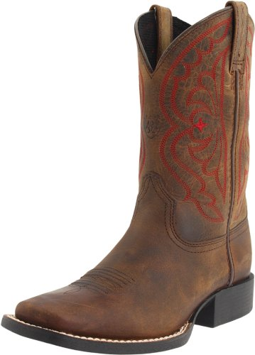 Kids' Quickdraw Western Boot (Toddler/Little Kid/Big Kid),Distressed Brown,5 M US Big Kid (Toe Boots Youth Cowboy Square)
