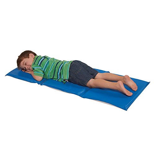 ECR4Kids Everyday 3-Fold Daycare Rest Mat, Blue and Grey 1 Thick
