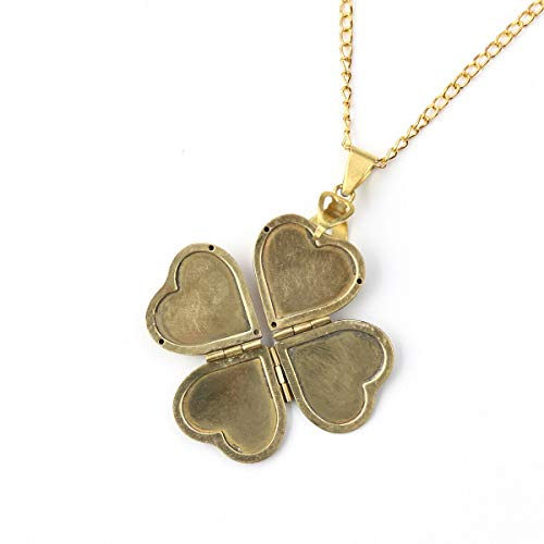 Womens Fashion Heart Shaped Photo Necklace Four-leaf Clover Photo Locket Necklace