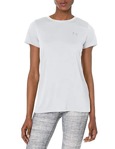 Under Armour Womens Tech Short Sleeve T-Shirt, White (100)/Metallic Silver, X-Small