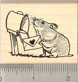 Hamster Mailing Valentine Rubber Stamp - Wood Mounted