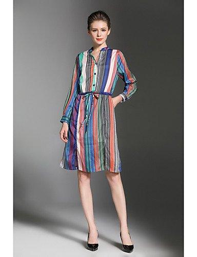 JIALELE Vestido Fiesta Mujer,De Fiesta La Vestimenta Femenina,Geométrico Collar De La Camisa Manga Larga Inelástica Mediano Rainbow