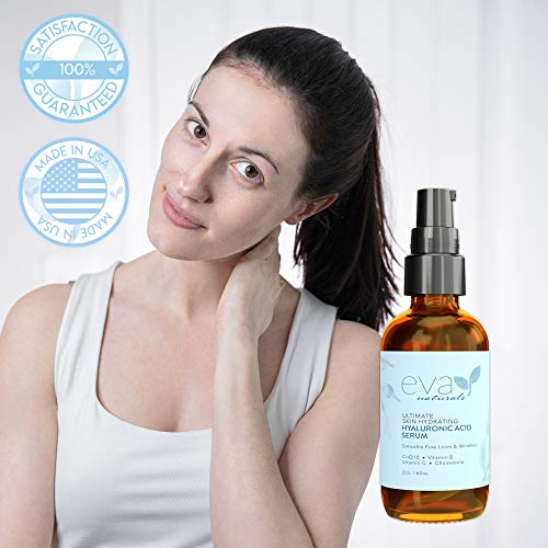 41%2BbImm5KEL - Hyaluronic Acid Serum with Vitamin C (2x Bottle Size) - Skin Brightening & Hydrating Facial Moisturizer - Anti Aging Serum, Age Spots, Dark Spot Corrector for Face & Neck by Eva Naturals, 2 oz.