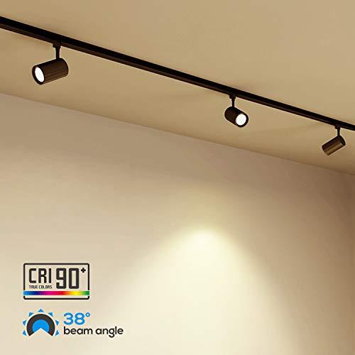 LEONLITE 4 Pack 8.5W(50W Equiv.) Integrated CRI90+ LED Black Track Light Head, Dimmable 38°Beam Track Lighting, 500lm Energy Star ETL-Listed, for Accent Task Wall Art Exhibition, 2700K Soft White by LEONLITE (Image #5)