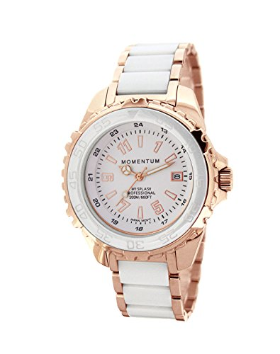 Momentum Women's Quartz Stainless Steel and Ceramic Diving Watch, Color:Rose Gold-Toned (Model: 1M-DN67WS0C)