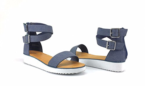 BAMBOO Women's Single Band Espadrilles Platform Sandal with Ankle Strap, Denim, 8.0 B (M) ()