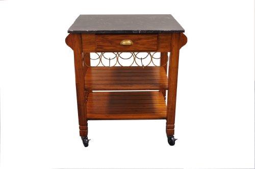 (Bernards 7430 Oak Caster with Marble Top Kitchen Island)