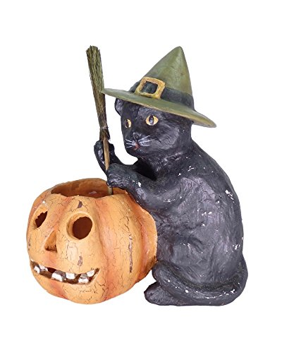 Bethany Lowe Black Cat With Votive Halloween Tabletop (Halloween Jack O Lantern Cat)