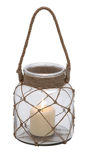 (Deco 79 28855 Glass Rope Candle Lantern)