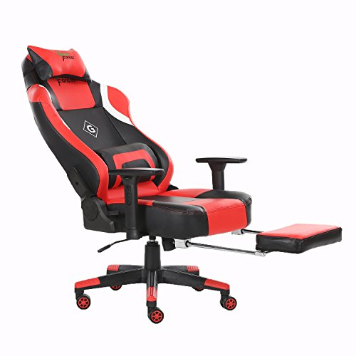 GreenForest Computer Gaming Chair Large Size Lock Tilting Function PC Racing Chair Executive High-Back Office Chair With PU Leather Lumbar Massage Support and Retractable Footrest, Black and Red