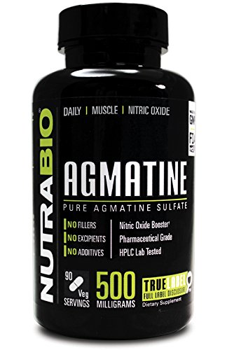 NutraBio Agmatine Sulfate - Boosts Nitric Oxide for better muscle pumps - 500 mg - 90 Vegetable-Caps