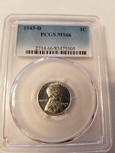 - 1943 D steel penny pcgs graded ms66 Cent MS-66 PCGS