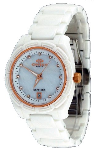 Oniss #ON7702-LRG Women's Rose Trim Crystal Index MOP Dial White Ceramic Watch