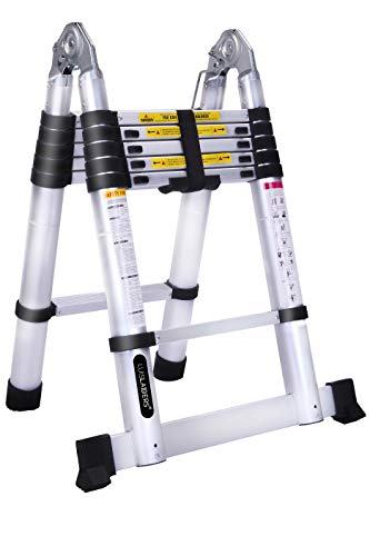 Telescoping A Frame Ladder Extension Ladders 12.5 Feet 330 Pounds Capacity