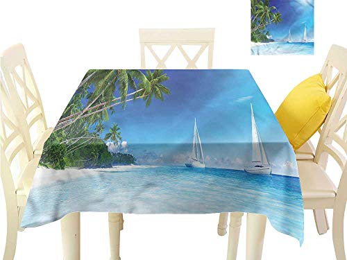 - WilliamsDecor Dinning Table Covers Sailboat Nautical,Beach and Trees Tassel Tablecloth W 36