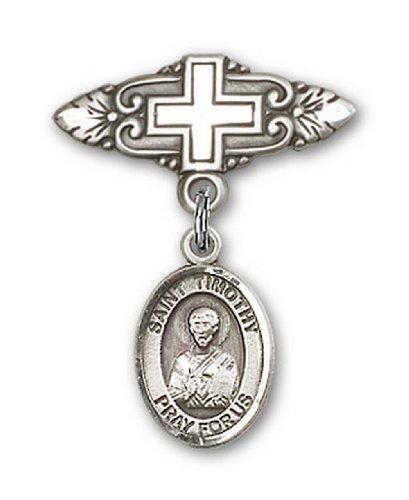 Icecarats Créatrice De Bijoux En Argent Sterling St. Fléole Broche De Badge Charme Avec Une Croix X 3/4