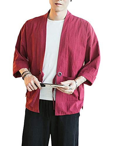 Kimono Japonés Hombre Robe Coat Manga 3/4 Mens Vintage Cloak Cotton Linen Blends Loose Fit Short Coat Jacket Cardigan Vino Rojo