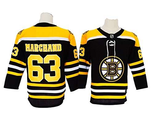 Eltawak Youth's #63 Marchand Jersey Bruins Brad Black Home Breakaway Player Jersey Ice Hockey Sportswear Jersey (Marchand Jersey)