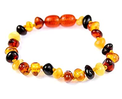 100% Genuine MIX Amber Anklet/Bracelet Knotted from UK Dristriibutor 12-23CM SilverAmber Jewellery BARMIXB13