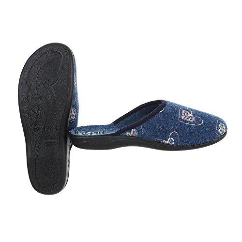 Ital-Design Hausschuhe Damenschuhe Pantoffeln Pantoffel Freizeitschuhe Blau 19257
