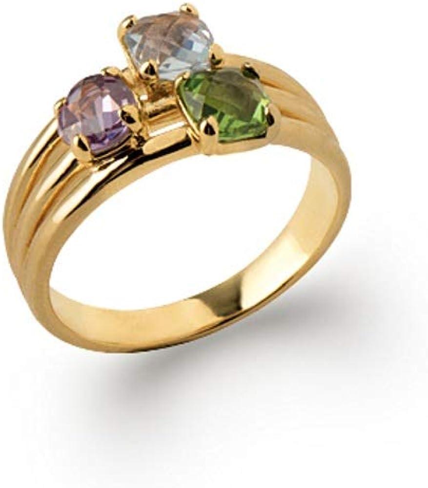 Line.Bijoux - Anillo de 3 Piedras engarzadas con 4 Garras Chapado en Oro 750/000, Moderno sin níquel