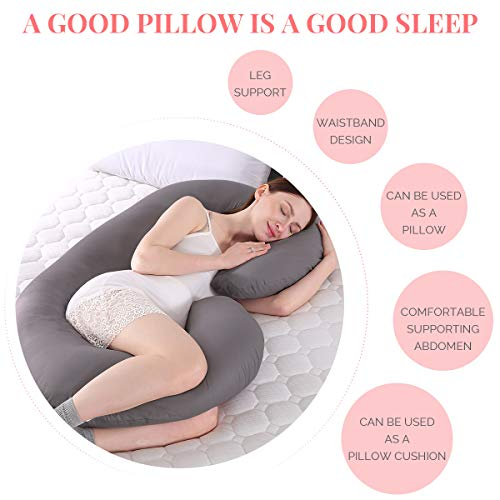 """MINGPINHUIUS Pregnancy Body Pillow, New Upgrade Body Pillow with Cotton Pillowcase, 51"""" Enlarge Size Maternity Pillows for Pregnant Women Sleeping Pillow Weight 2kg Fuller Inner Cotton C Shaped Pillow Cover Detachable Washable (Deep grey)"""