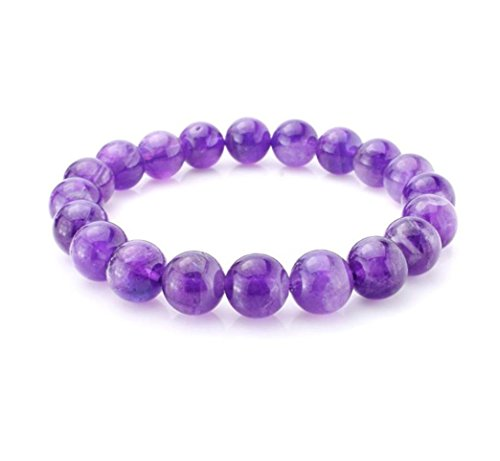 Natural Grade A Purple Amethyst Bracelet 7.5 inch Stretchy Gemstone Bracelet Chakra Gems Stones Healing Crystal Great Gifts (Unisex) ()