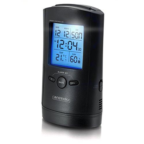 Arendo - Funkwecker mit Hygrometer und Thermometer | Radio-controlled alarm clock | Temperaturanzeige/Luftfeuchtigkeit | Weckfunktion | LCD-Hintergrundbeleuchtung für einfaches Ablesen | Celsius/Fahrenheit | eingebaute LED-Taschenlampe | automatische Zeiteinstellung | schwarz