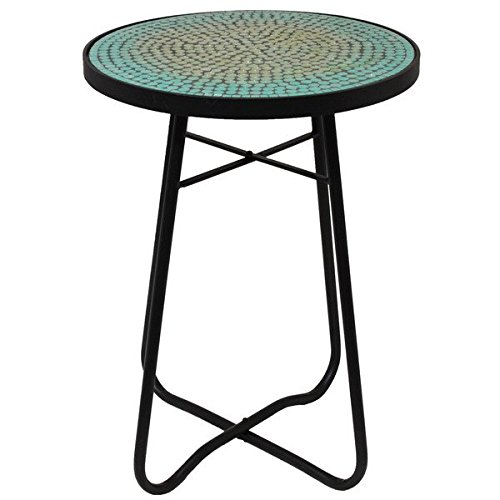Contemporary/ Modern Turquoise Mosaic Round Glass Patio Accent Side Table 7862654 (23 in. H x 16 in. W x 16 in. L) Assembly Required (Outdoor Side Table Mosaic)