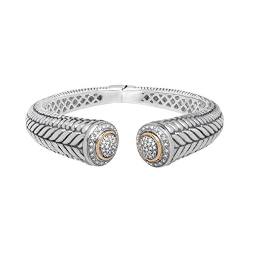 1/2 ct Diamond Hinged Bangle Bracelet in Sterling Silver & 14K Gold - 14k Gold Hinged Bangle Bracelet