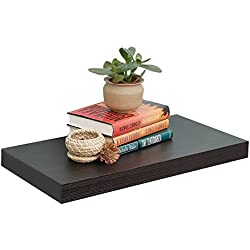 "WELLAND 12"" Depth Floating Wall Shelf Display Floating Shelf, 24""L x 12""D x 2""T, Deeper Than Others, Espresso"