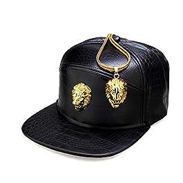 AdronQ Metal Gold Head Logo Pu Leather Baseball Cap Casual Unisex Belt Buckle Hip Hop Rap 5 Panel Sun Snapback Hats Men Women