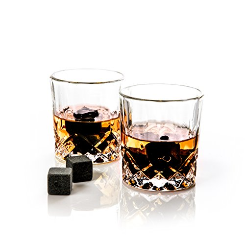 Golden Moose Whiskey Stones Gift Set – 2 Whiskey Glasses (220ml), 8 Exclusive Whiskey Rocks & Velvet Bag + Tongs in a Elegant Wooden Gift Box by Golden Moose (Image #4)