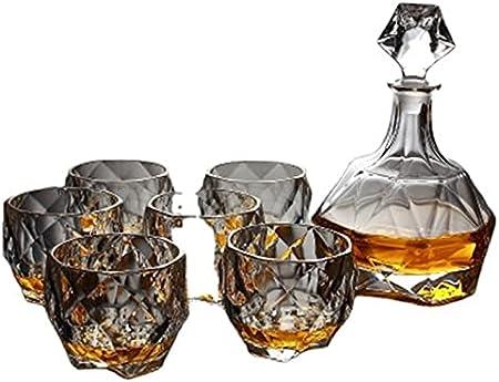 QiHaoHeji Decantador de whisky de 7 piezas con decantador de whisky de cristal con 6 vasos, juego de decantador de whisky para el día del padre (color: transparente, tamaño: 7 piezas)