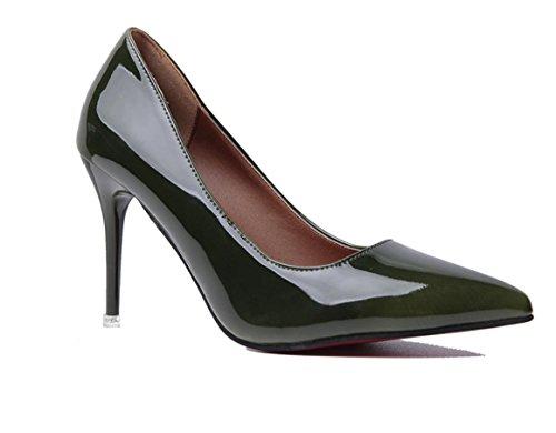 YCMDM DONNE sfumatura a due colori a punta Shallow Leathermouth-tacco alto scarpe di moda banchetti con gli insiemi sottili di scarpe , green , 35