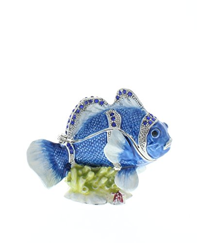 Crystal Dragonfly Trinket Box - Clown Fish Trinket Box, Hand Set Sapphire Swarovski Crystal, Hand Painted Blue Enamel Over Pewter, L 3.00 x H 2.25 x W 1.50