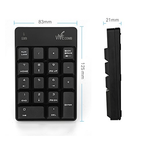 Wireless Numeric Keypad, Vive Comb External Number Pad Portable Numpad With 2.4G Mini USB Receiver for Laptop, Desktop, PC, Notebook-Black by Vive Comb (Image #4)