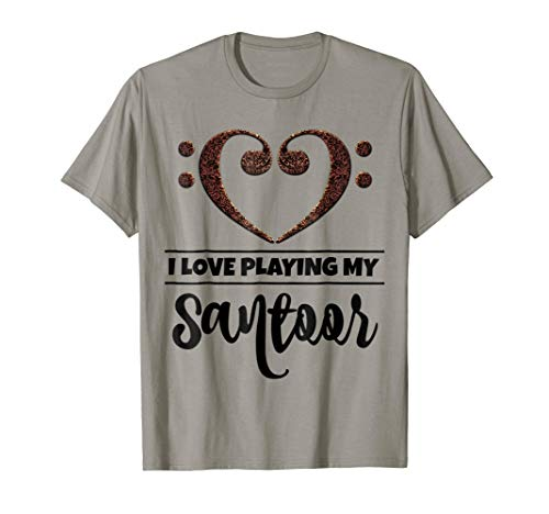 Double Bass Clef Heart I Love Playing My Santoor Music Lover T-Shirt