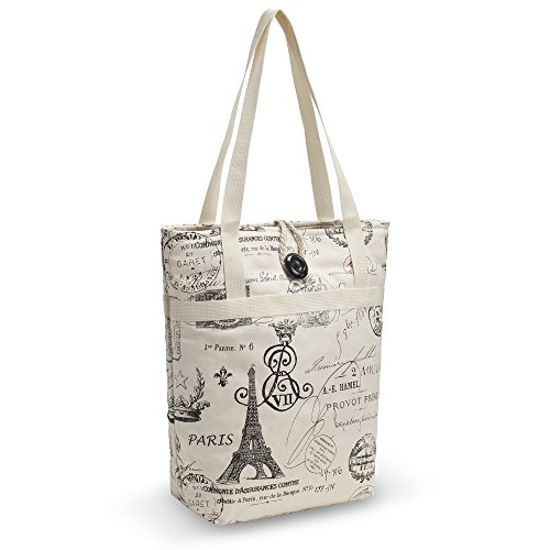 - Kuzy - Tote Bag Travel Bag Cotton Handmade 16-inch for Beach, Pool & School and to Carry MacBook & Laptop, Book Bags - Paris