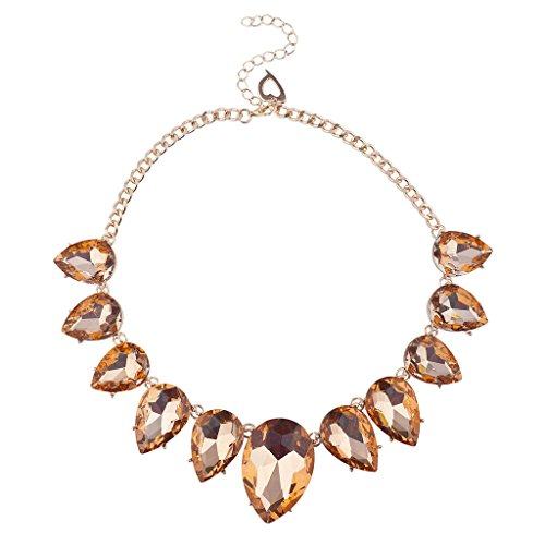 Lux Accessories Rose Goldtone Pink Crystal Teardrop Stone Statement Bib Necklace (Necklace Drop Bib)
