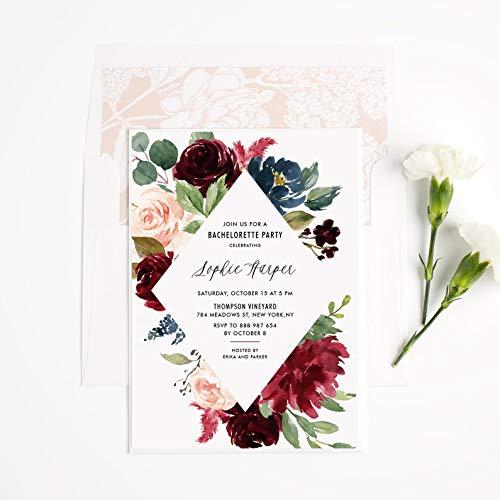Dozili Floral Bachelorette Party Invitation Watercolor Burgundy Roses Frame Bachelorette Invitation