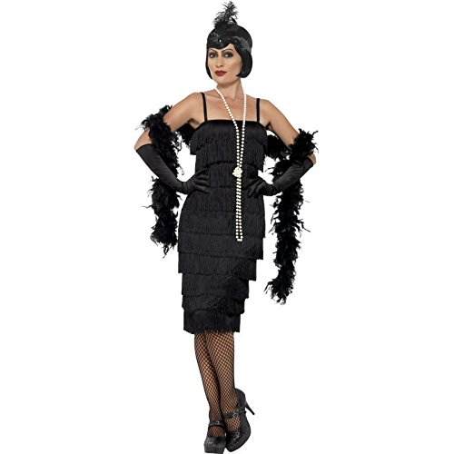 Smiffy's Women's Flapper Costume, Long Dress, Headband and Gloves, 20's Razzle Dazzle, Serious Fun, Plus Size 22-24, 45502 (Couples Plus Size Costumes)