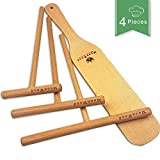 Wooden Crepe Spreader and Spatula Set - 4 Piece (7', 5', 3.5' Spreaders and 12' Wood Spatula Turner) Convenient Sizes to Fit Any Crepe Pan Maker - 100% Natural & Premium Quality Wood Spreader Tool
