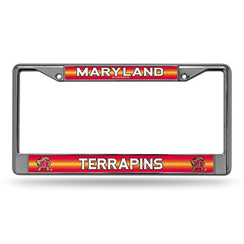 MARYLAND TERPS NCAA BLING GLITTER CHROME LICENSE PLATE FRAME by Rico ()