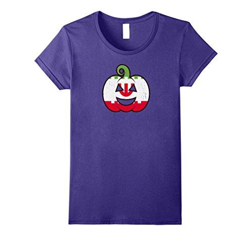 Iranian Costume (Womens Iranian Halloween Pumpkin T-Shirt - Iran Flag Costume Gift Large Purple)