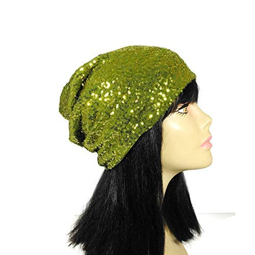 Sequin Hats Green Sequin Slouchy Beanie Boho Sequin Beanie Chartreuse Sparkle Slouch Hat for Women