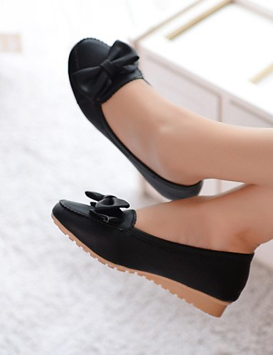 Casual Flats uk3 eu35 pink mujer azul sintética de negro us5 PDX piel Beige punta redonda cn34 rosa plano zapatos talón de qwPxUHv