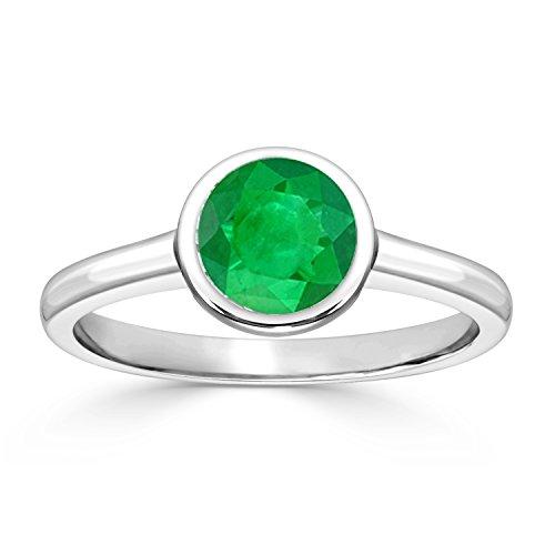 18K White Gold Round-Cut Green Emerald Gemstone Solitaire Engagement Ring bezel (1/4 cttw) Size 9