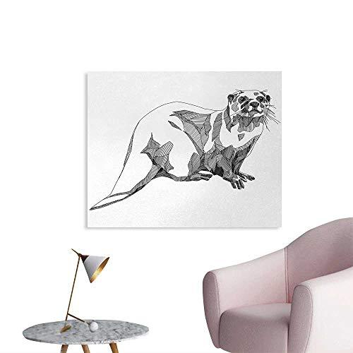 Tudouhoho Black and White Custom Poster Sketch Otter Monochrome with Line Art Inspirations Animal Illustration Photo Wall Paper Black White W32 xL24 (League Of Legends Wallpaper Black And White)